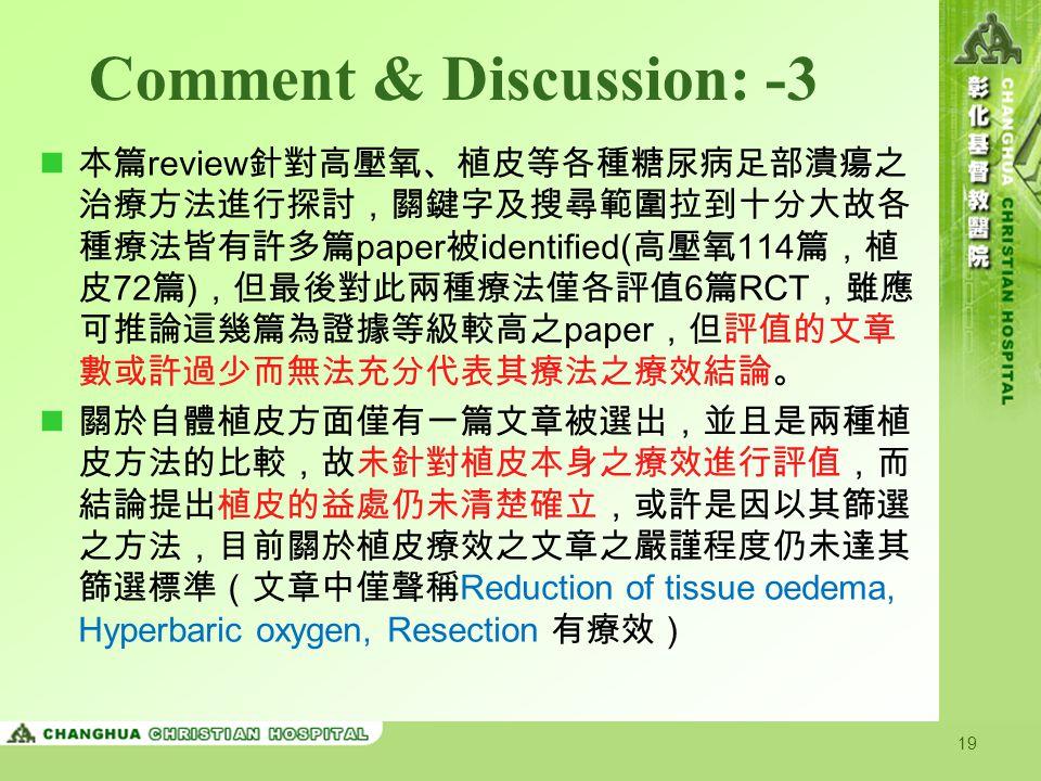 Comment & Discussion: -3