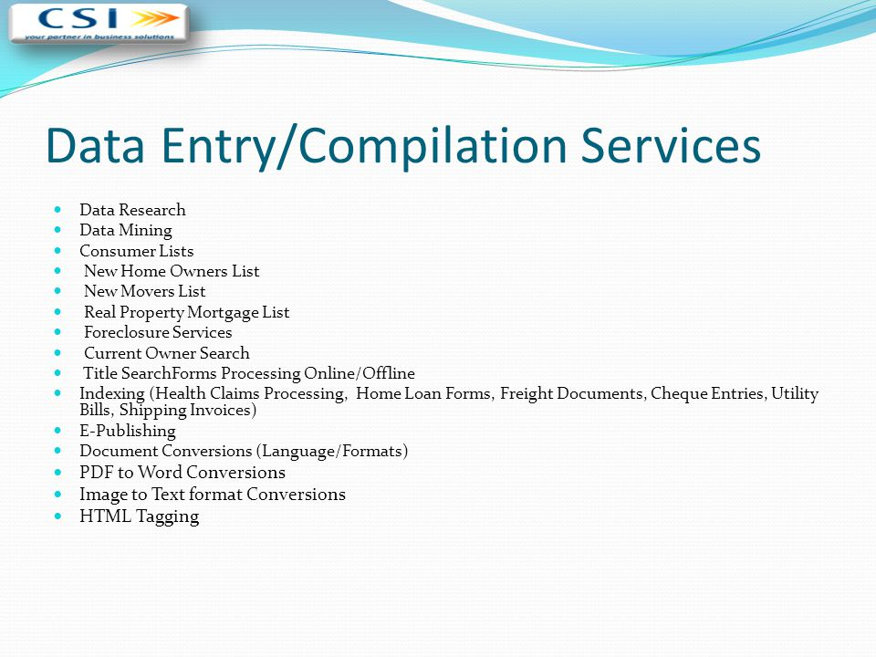 Data Entry/Compilation Services