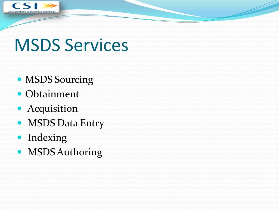 MSDS Services MSDS Sourcing Obtainment Acquisition MSDS Data Entry
