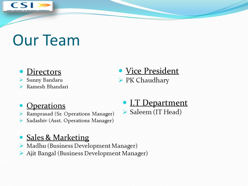 Our Team Directors Vice President I.T Department Operations