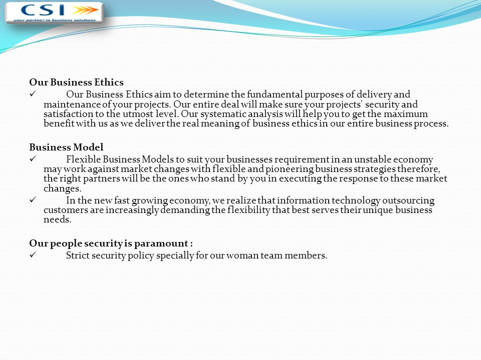 Our Business Ethics