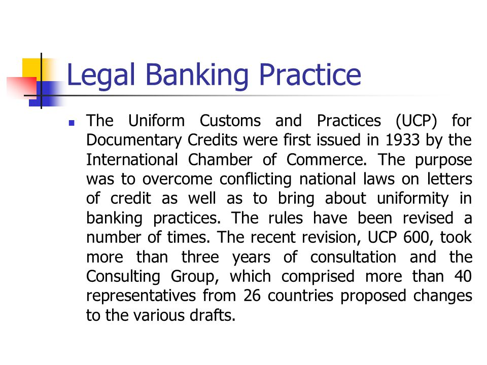 Legal Banking Practice