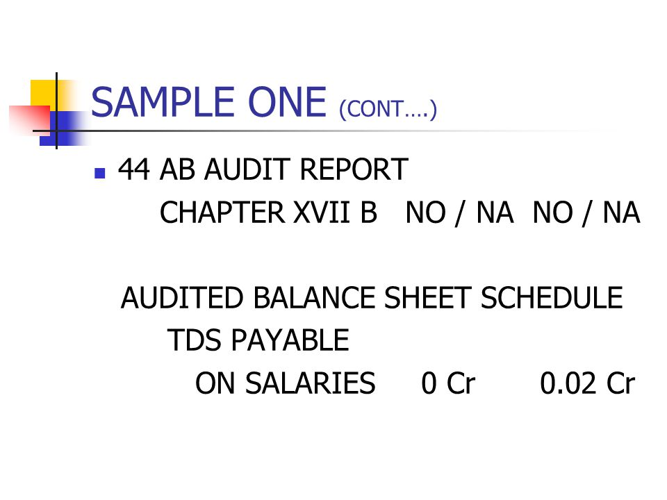 SAMPLE ONE (CONT….) 44 AB AUDIT REPORT CHAPTER XVII B NO / NA NO / NA