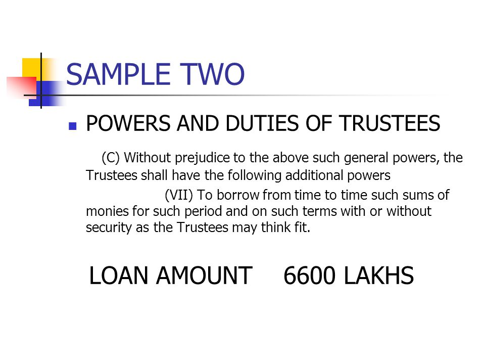 SAMPLE TWO POWERS AND DUTIES OF TRUSTEES