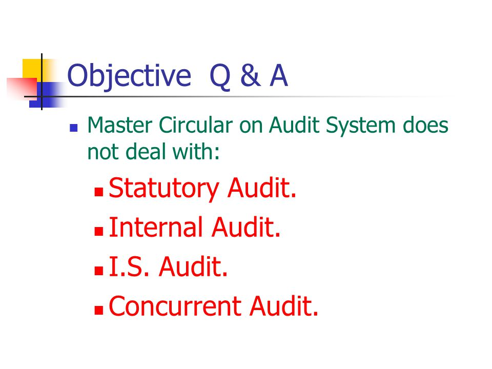 Objective Q & A Statutory Audit. Internal Audit. I.S. Audit.