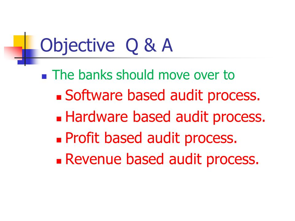 Objective Q & A Software based audit process.