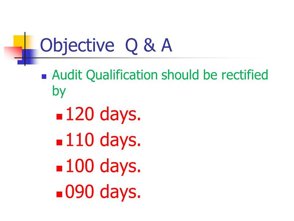 Objective Q & A 120 days. 110 days. 100 days. 090 days.