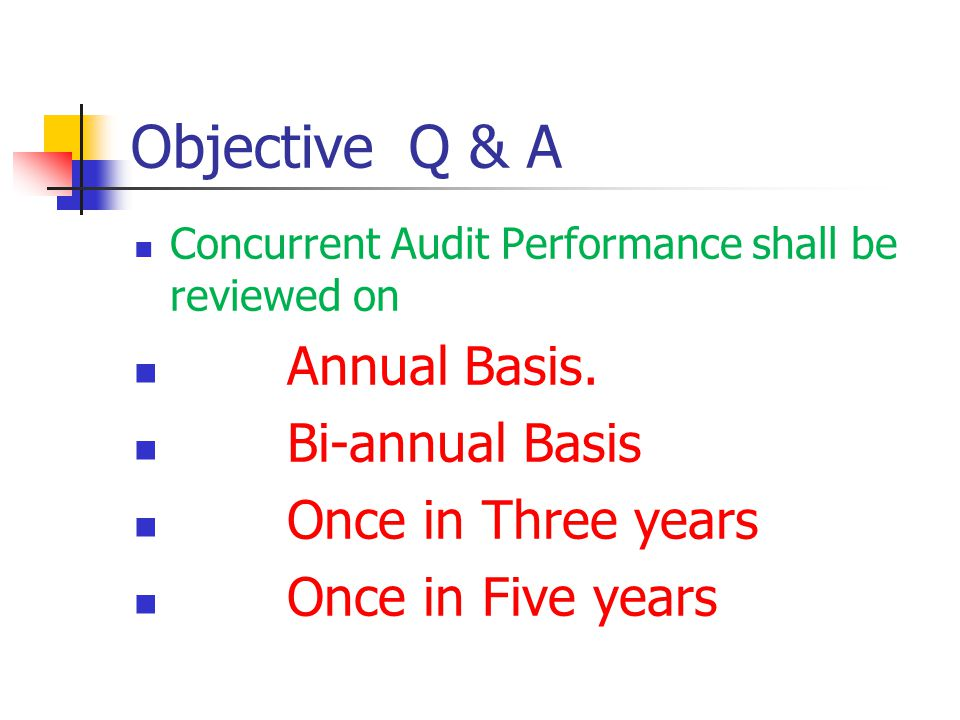 Objective Q & A Annual Basis. Bi-annual Basis Once in Three years