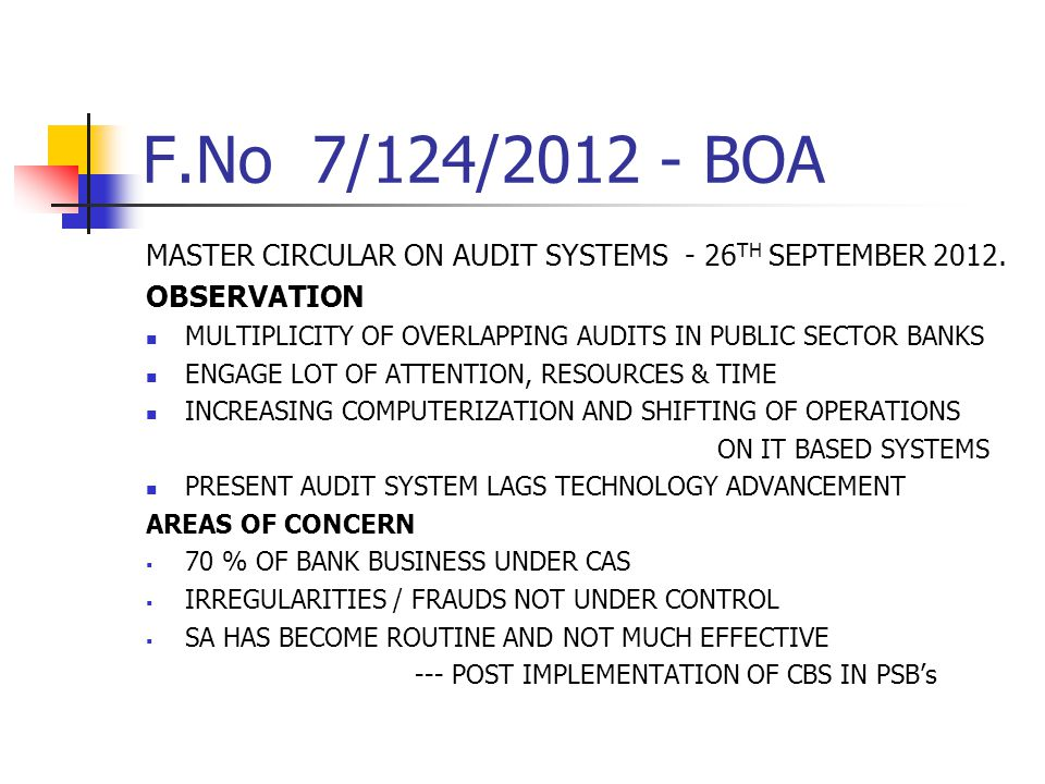 F.No 7/124/2012 - BOA MASTER CIRCULAR ON AUDIT SYSTEMS - 26TH SEPTEMBER 2012. OBSERVATION.
