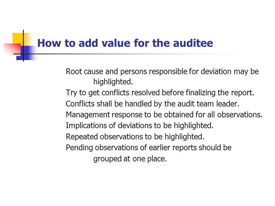 How to add value for the auditee