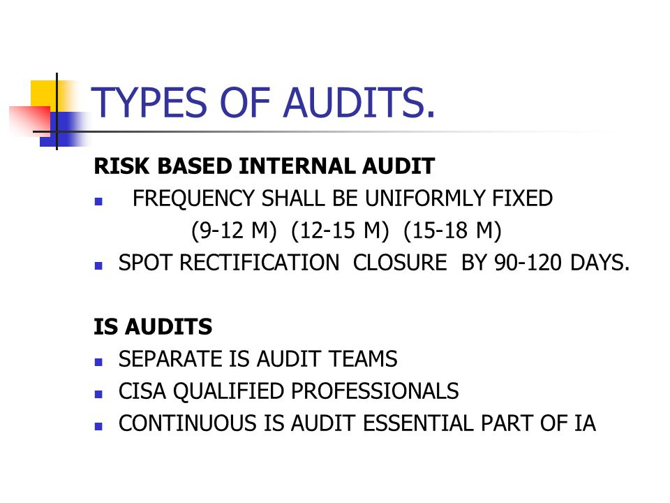 TYPES OF AUDITS. RISK BASED INTERNAL AUDIT