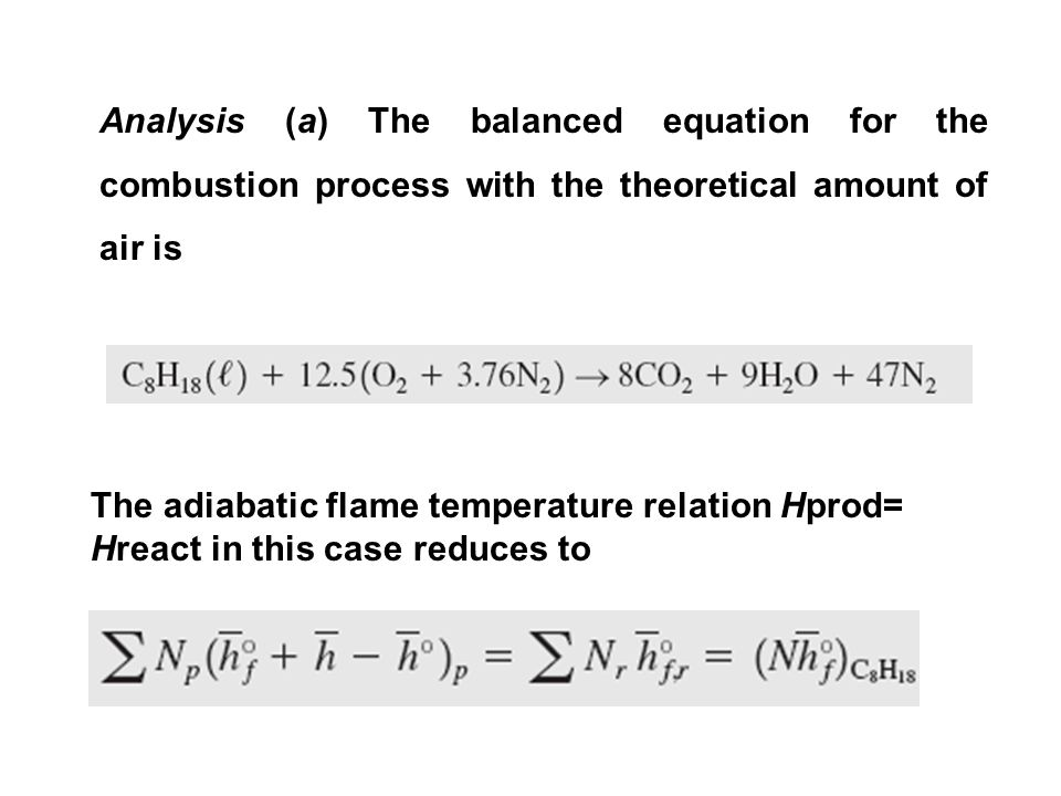 Analysis (a) The balanced equation for the combustion process with the theoretical amount of air is