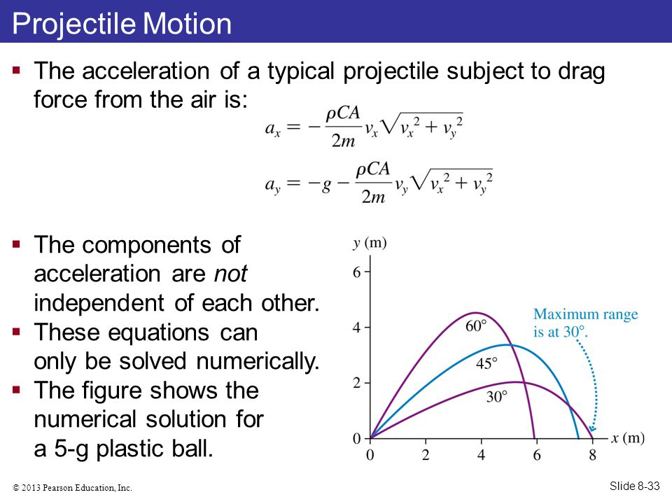 Projectile Motion The acceleration of a typical projectile subject to drag force from the air is: