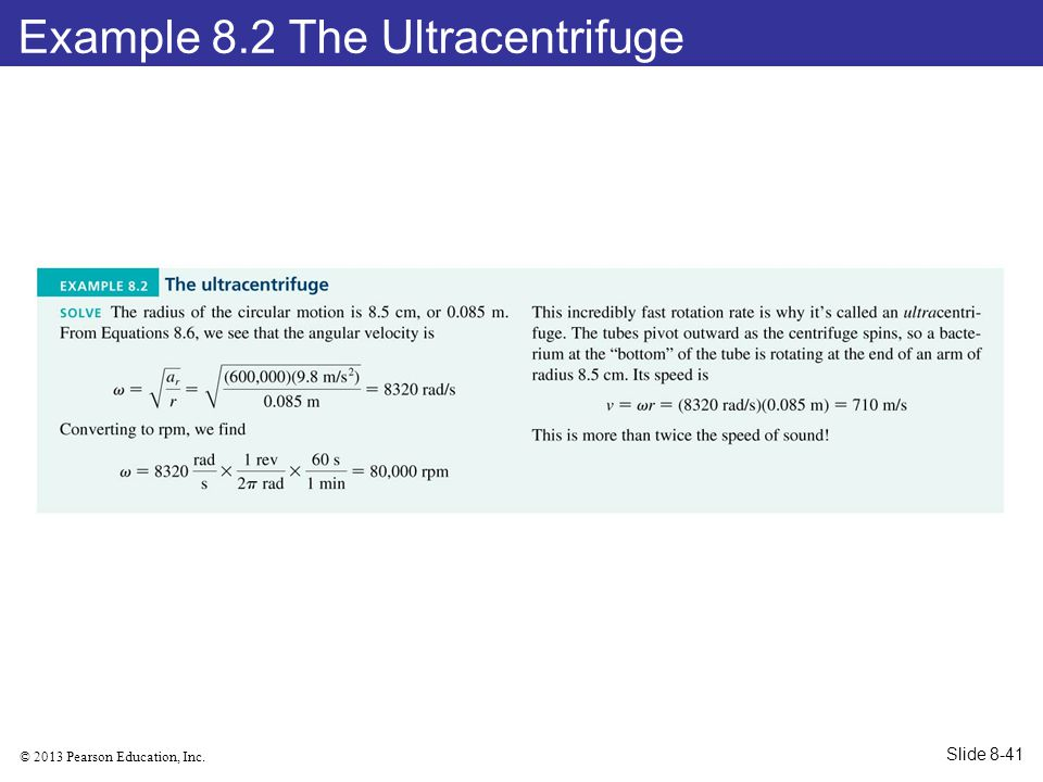 Example 8.2 The Ultracentrifuge