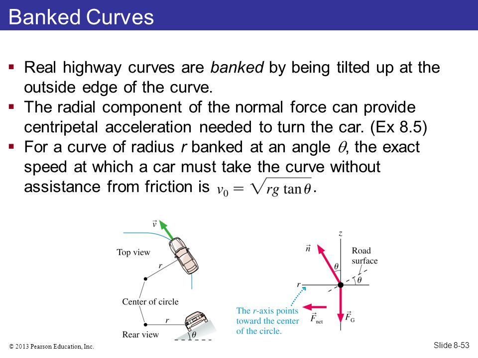 Banked Curves Real highway curves are banked by being tilted up at the outside edge of the curve.