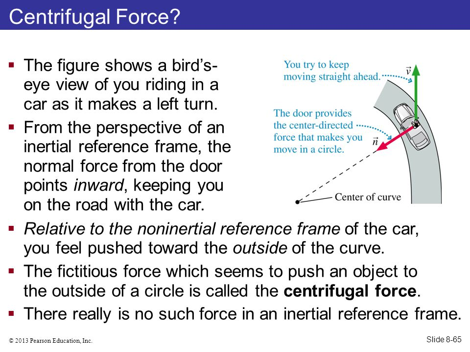 Centrifugal Force The figure shows a bird's-eye view of you riding in a car as it makes a left turn.