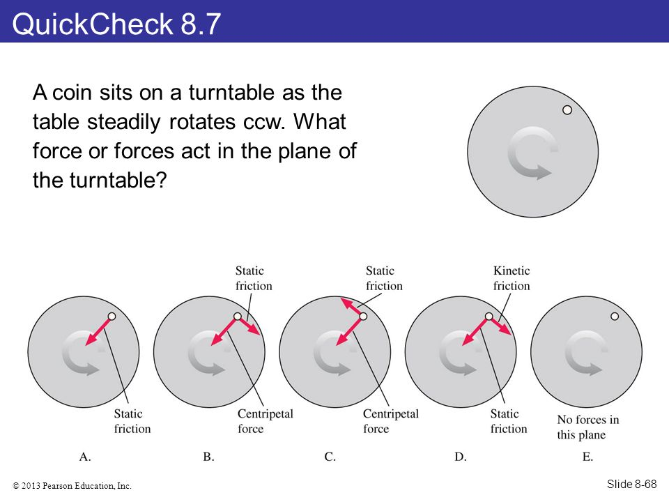 QuickCheck 8.7 A coin sits on a turntable as the table steadily rotates ccw. What force or forces act in the plane of the turntable