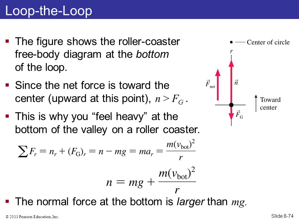 Loop-the-Loop The figure shows the roller-coaster free-body diagram at the bottom of the loop.