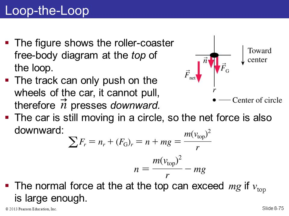 Loop-the-Loop The figure shows the roller-coaster free-body diagram at the top of the loop.