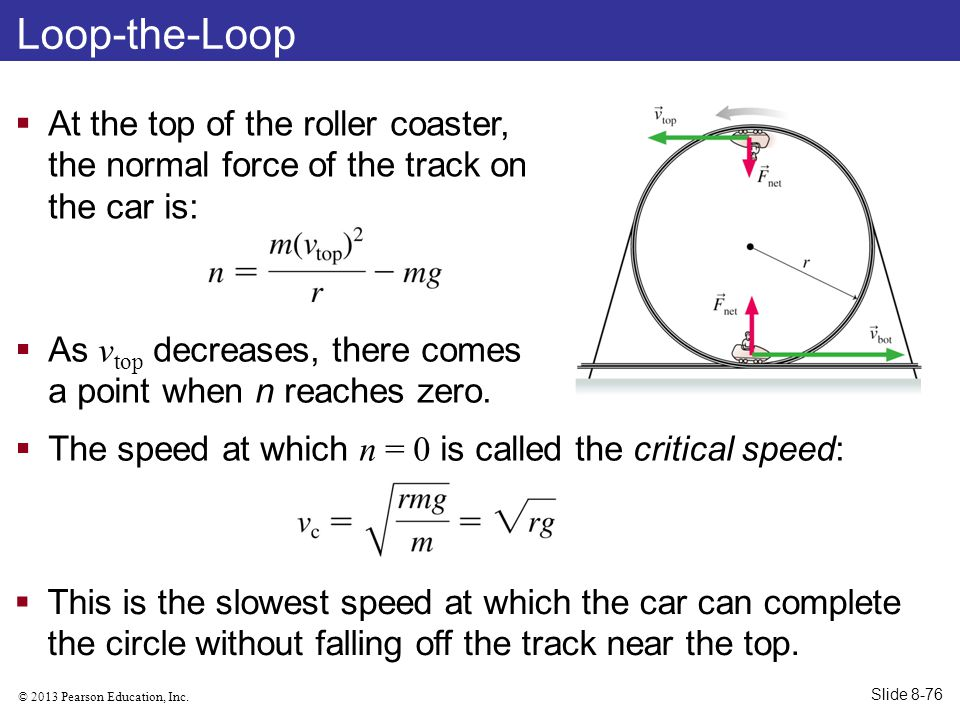 Loop-the-Loop At the top of the roller coaster, the normal force of the track on the car is: