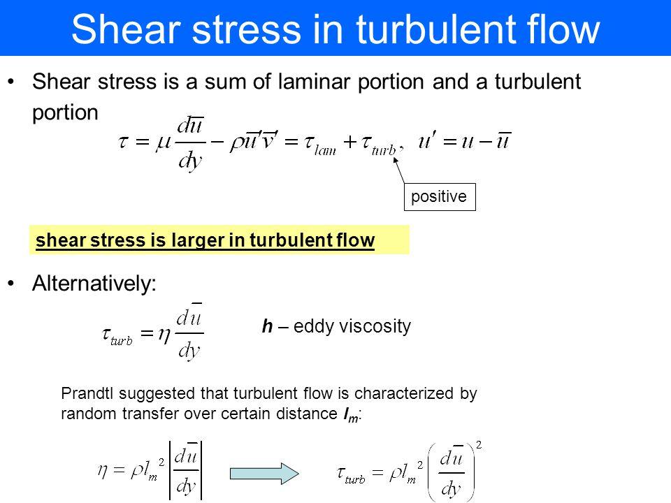 Shear stress in turbulent flow