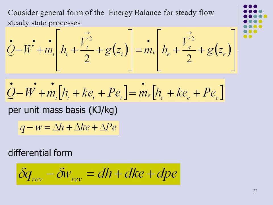 per unit mass basis (KJ/kg)