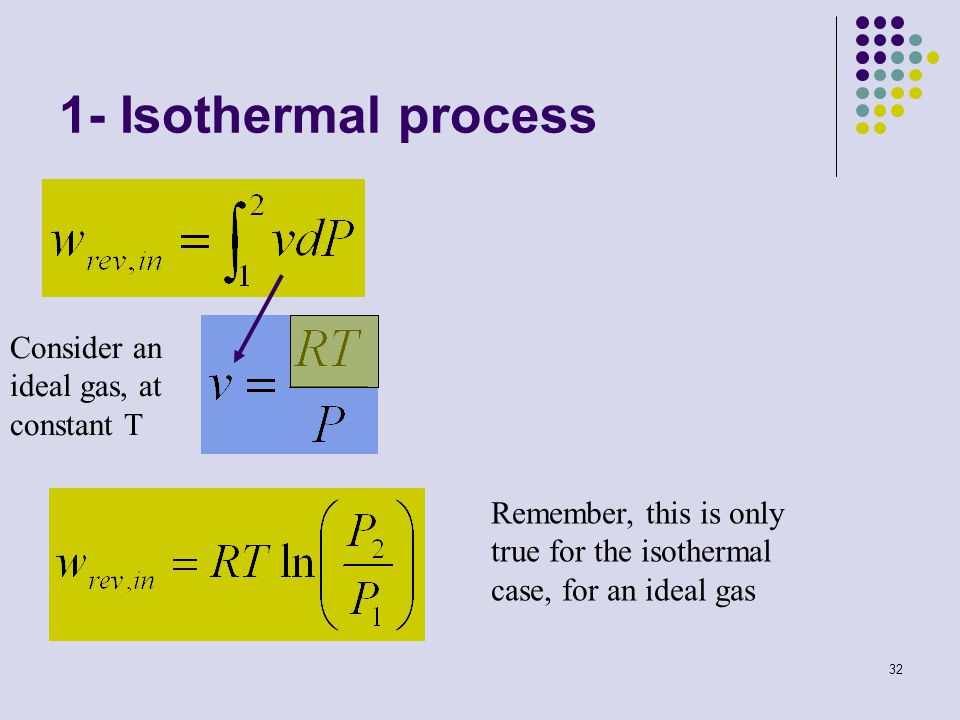 1- Isothermal process Consider an ideal gas, at constant T