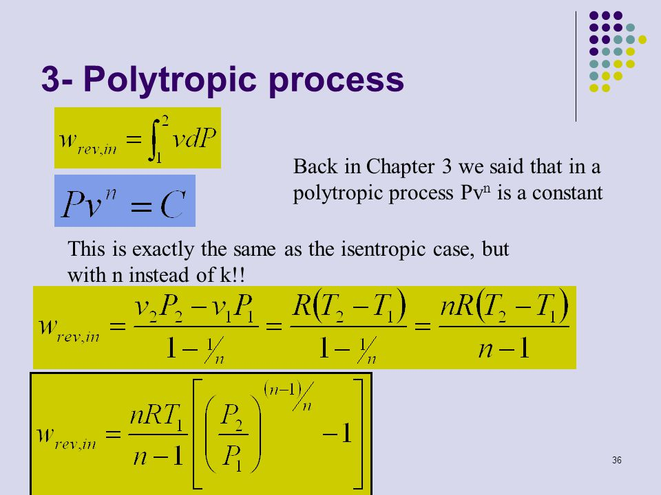 3- Polytropic process Back in Chapter 3 we said that in a polytropic process Pvn is a constant.
