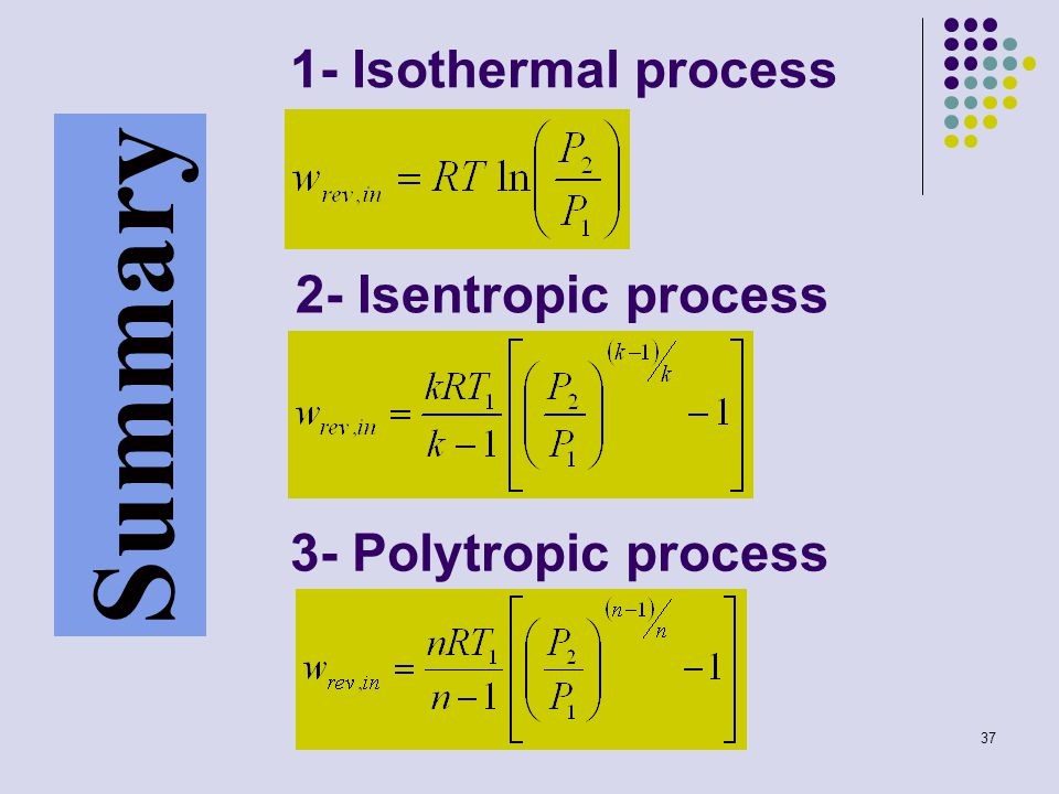 Summary 1- Isothermal process 2- Isentropic process