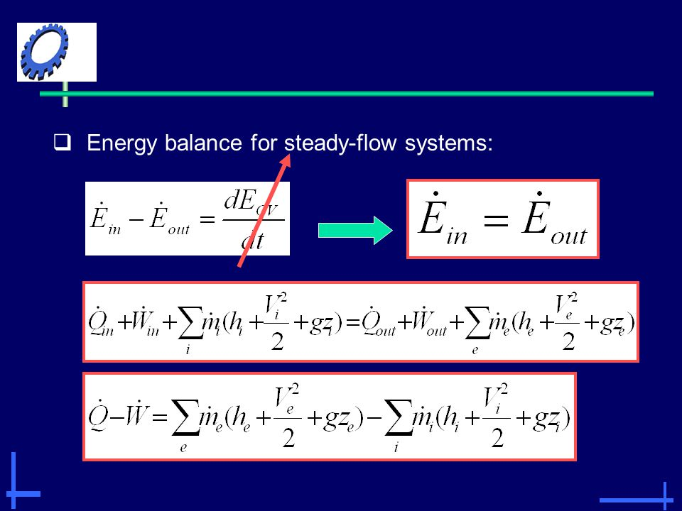 Energy balance for steady-flow systems: