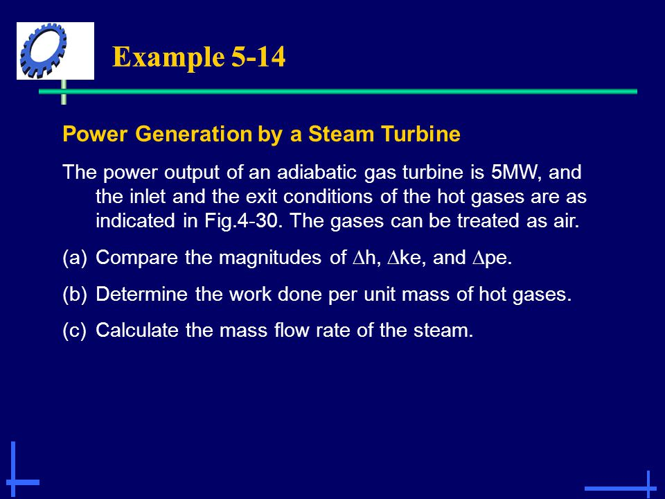 Example 5-14 Power Generation by a Steam Turbine