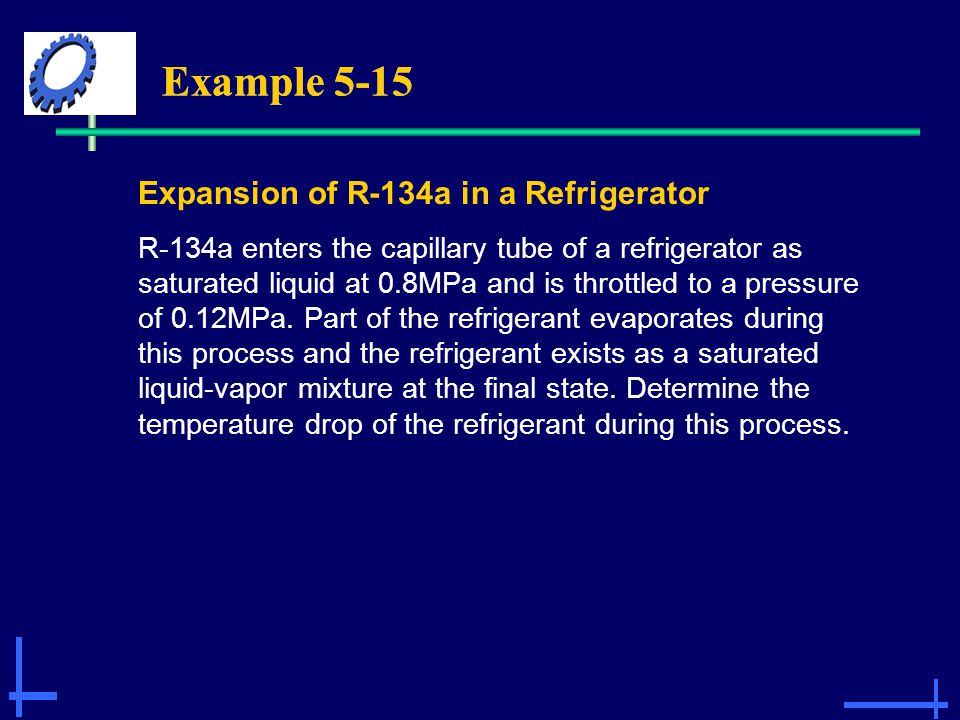 Example 5-15 Expansion of R-134a in a Refrigerator