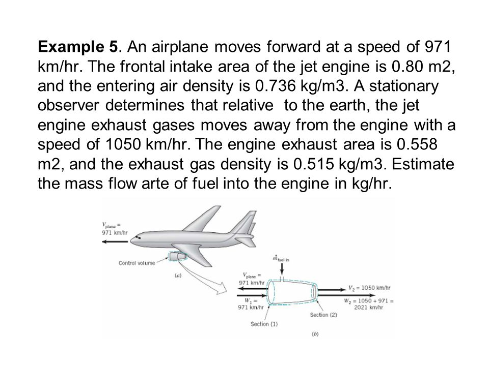 Example 5. An airplane moves forward at a speed of 971 km/hr
