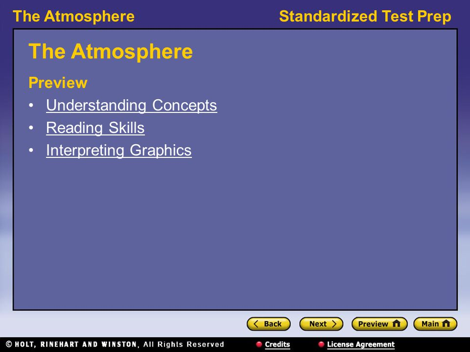 The Atmosphere Preview Understanding Concepts Reading Skills