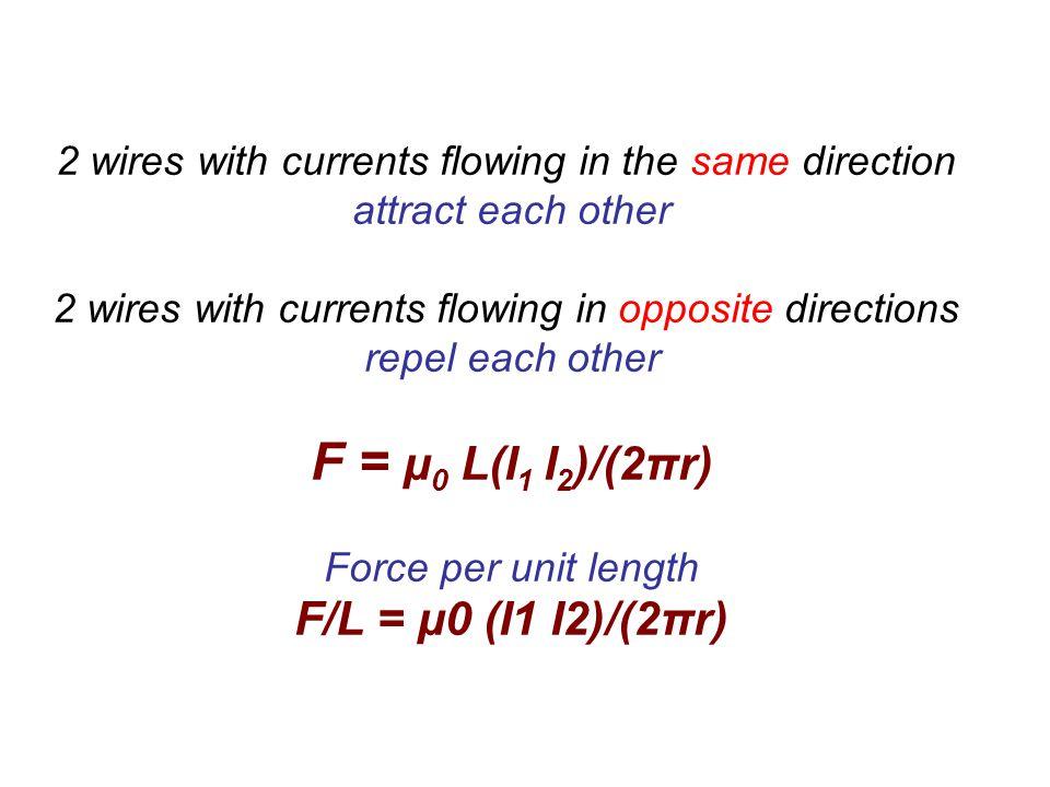 F = μ0 L(I1 I2)/(2πr) F/L = μ0 (I1 I2)/(2πr)
