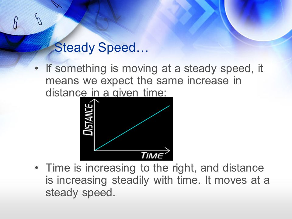 Steady Speed… If something is moving at a steady speed, it means we expect the same increase in distance in a given time:
