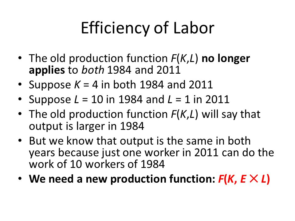 Efficiency of Labor The old production function F(K,L) no longer applies to both 1984 and 2011. Suppose K = 4 in both 1984 and 2011.