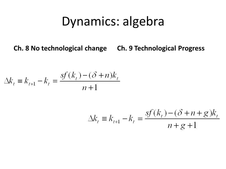 Dynamics: algebra Ch. 8 No technological change