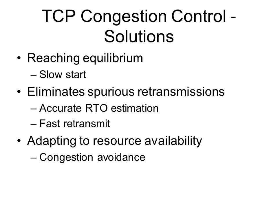 TCP Congestion Control - Solutions