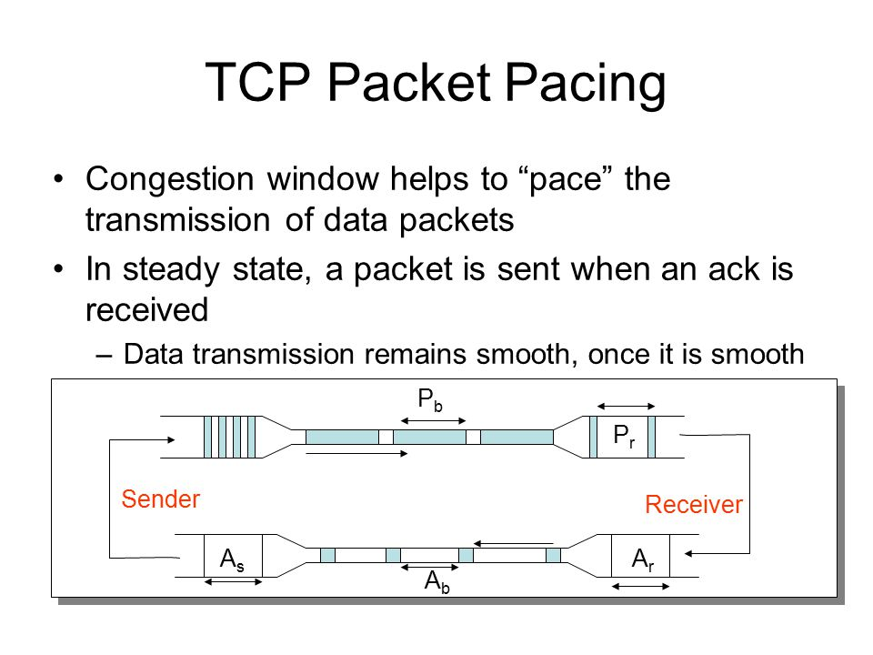TCP Packet Pacing Congestion window helps to pace the transmission of data packets. In steady state, a packet is sent when an ack is received.