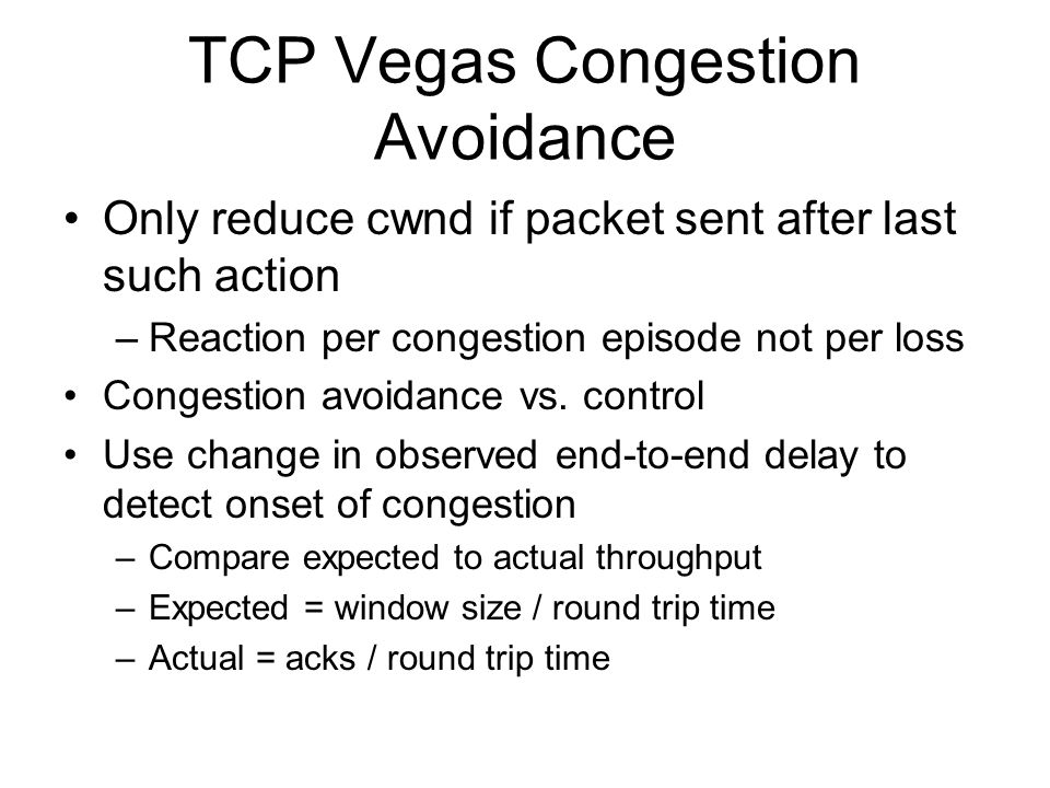 TCP Vegas Congestion Avoidance
