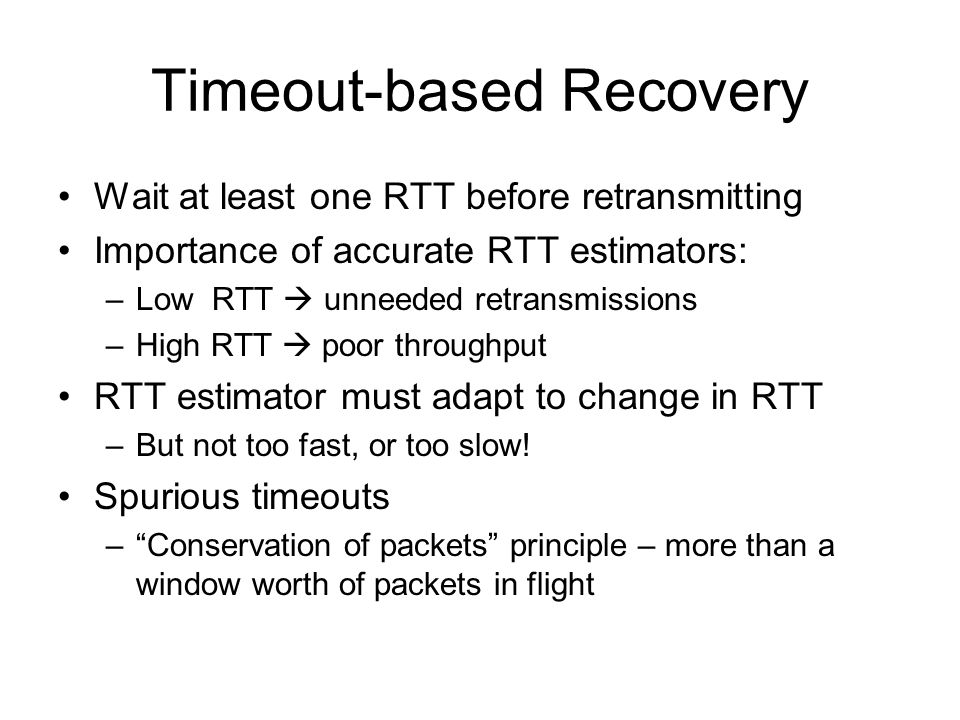 Timeout-based Recovery