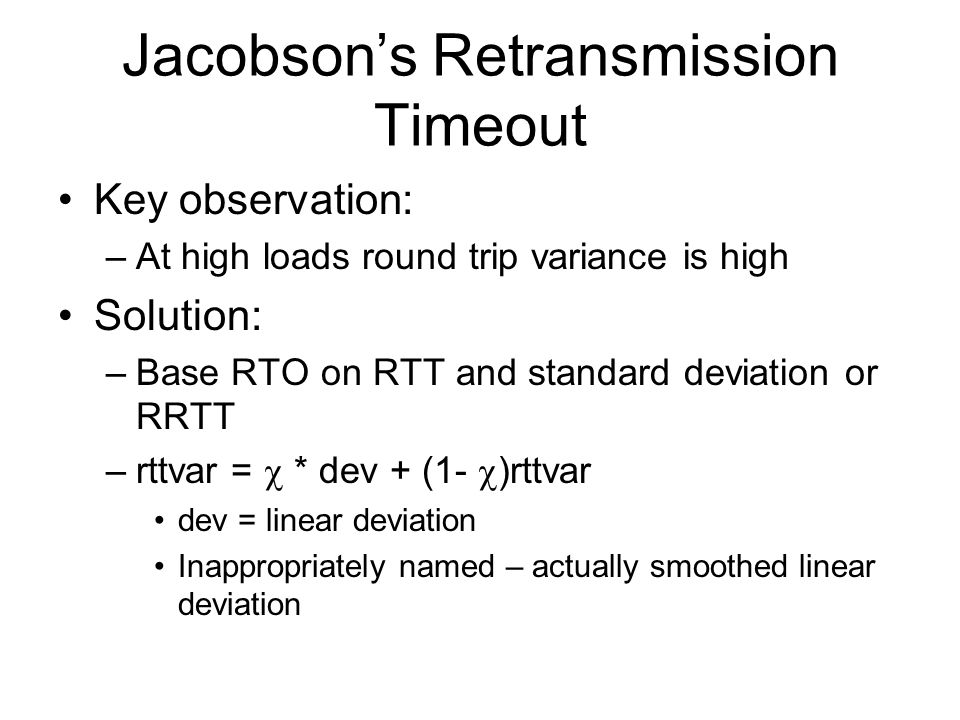 Jacobson's Retransmission Timeout