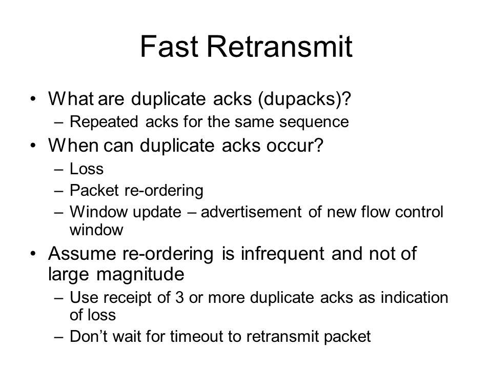 Fast Retransmit What are duplicate acks (dupacks)