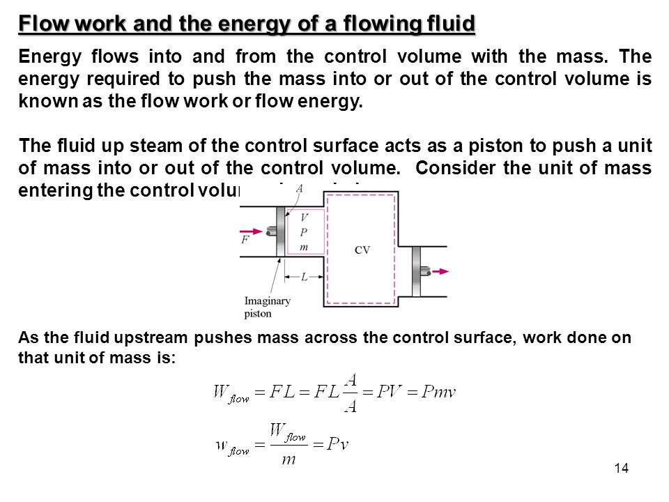 Flow work and the energy of a flowing fluid