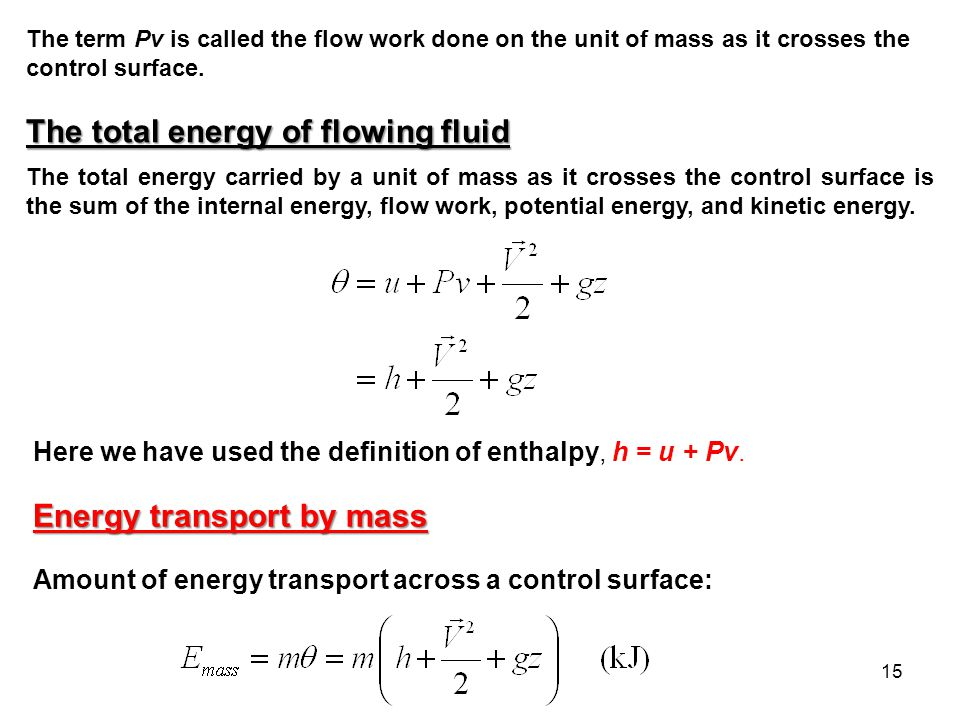 The total energy of flowing fluid
