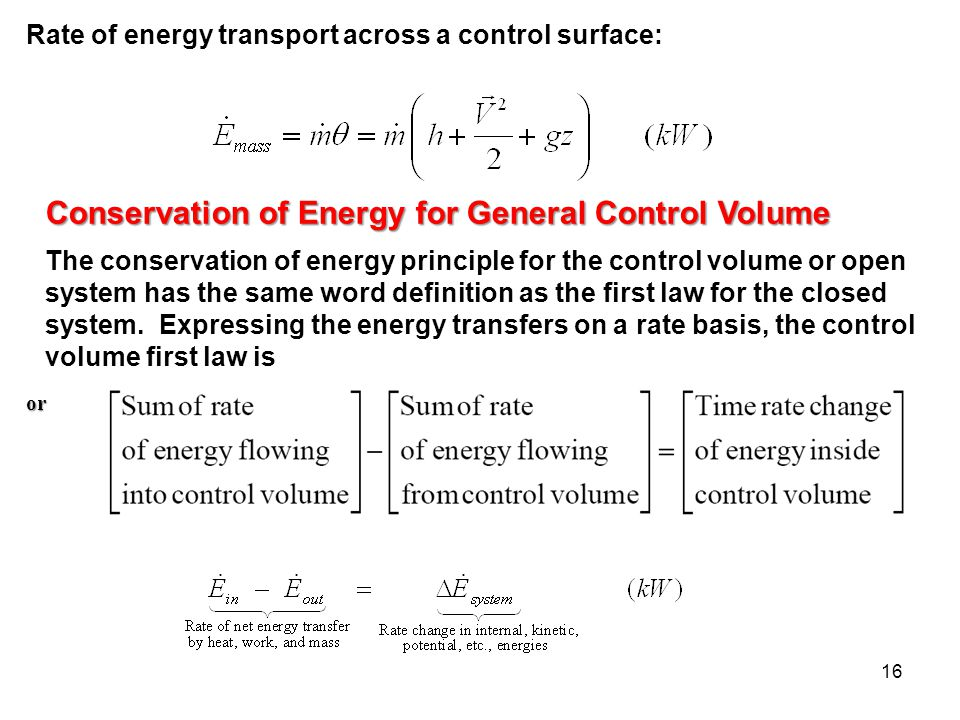Conservation of Energy for General Control Volume