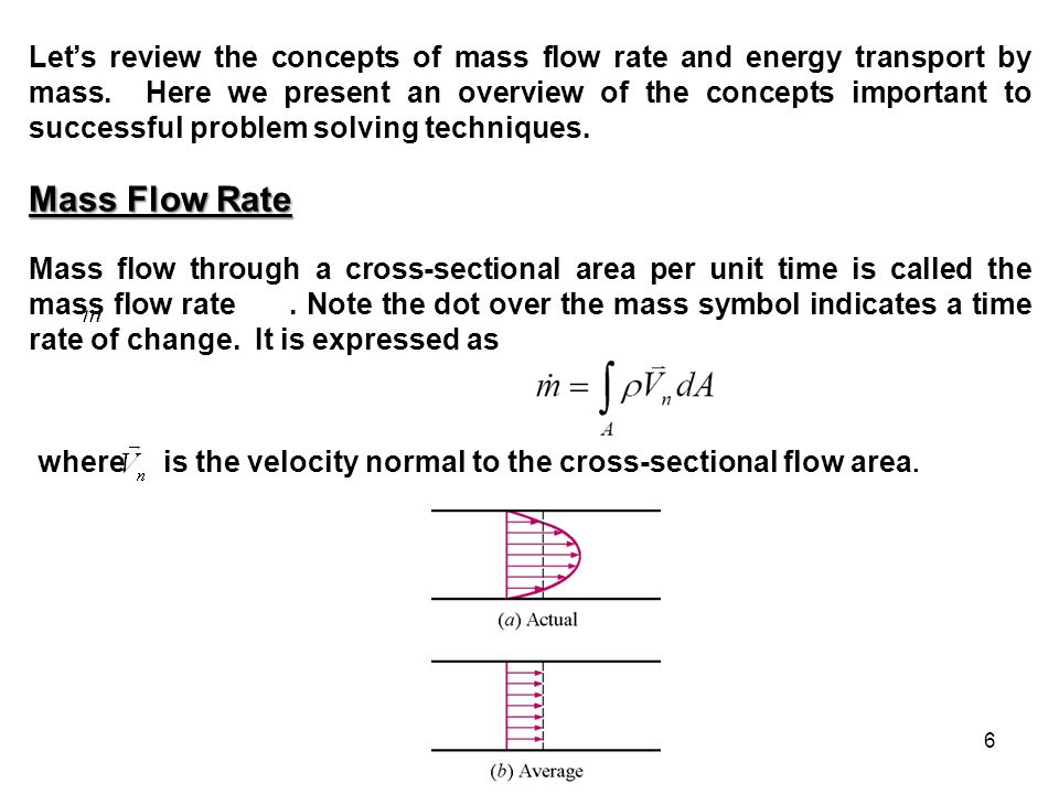 Let's review the concepts of mass flow rate and energy transport by mass. Here we present an overview of the concepts important to successful problem solving techniques.