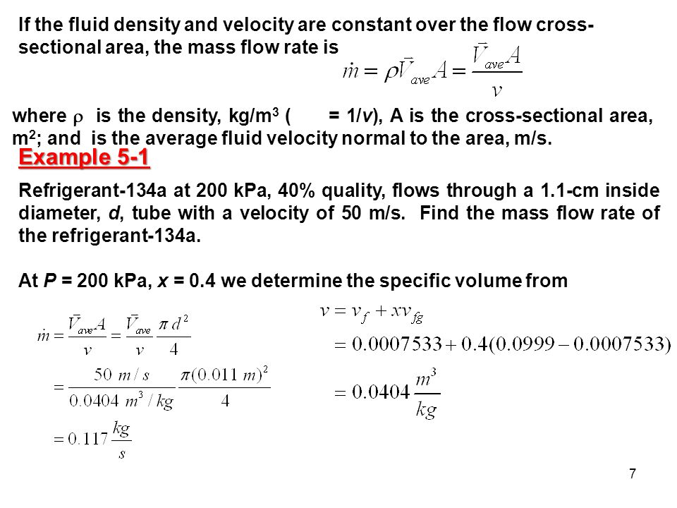 If the fluid density and velocity are constant over the flow cross-sectional area, the mass flow rate is