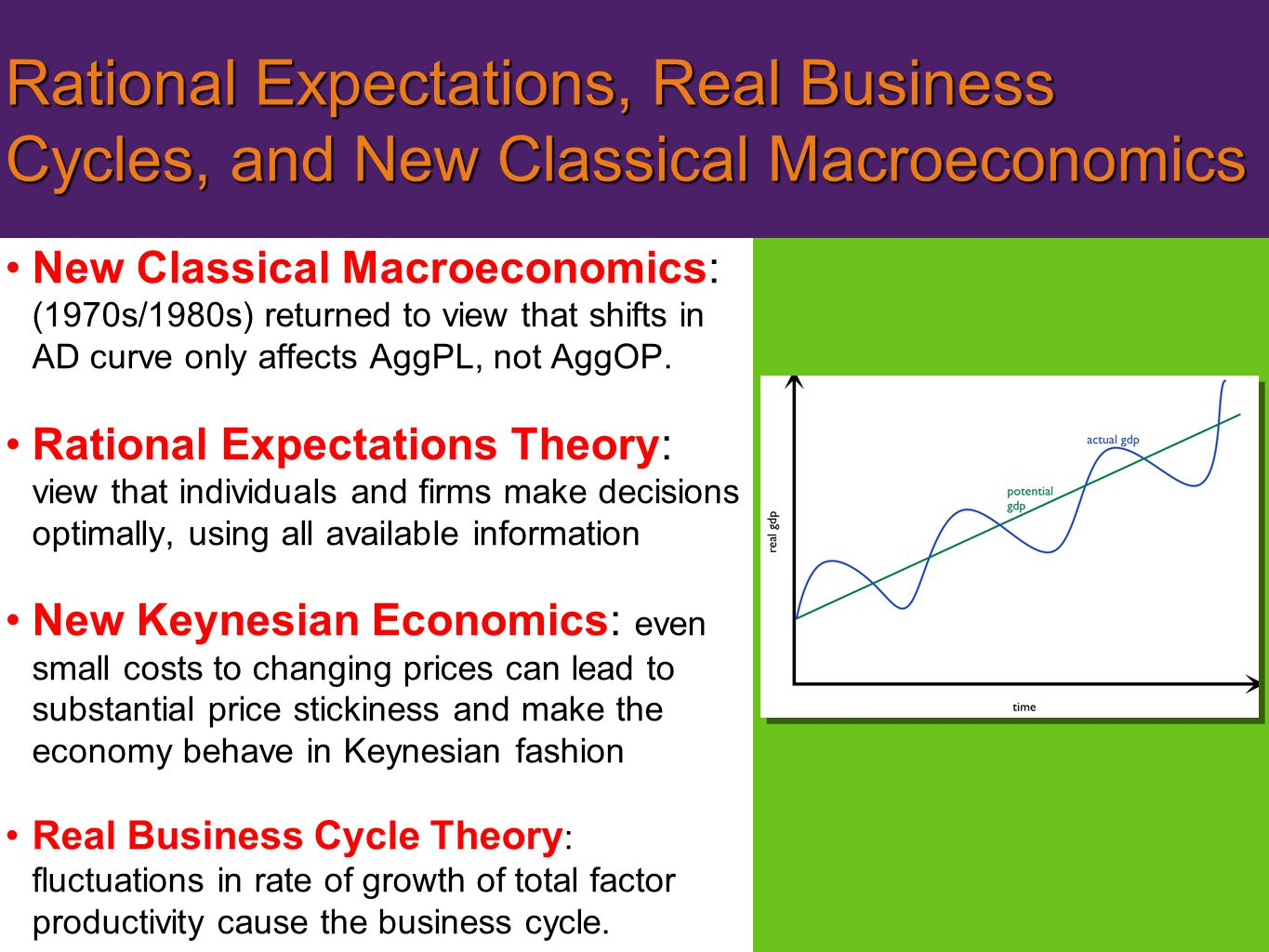 Rational Expectations, Real Business Cycles, and New Classical Macroeconomics